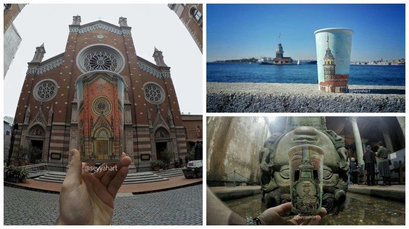 История Стамбула, нарисованная на бумажных стаканчиках (17фото)