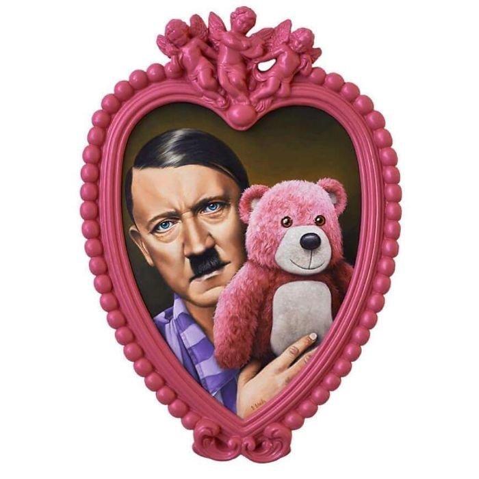 Художник перекраивает традиционные образы знаменитых людей, перенося их в свой розовый мир (37фото)