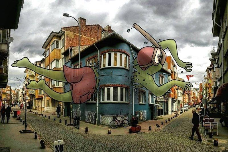 Турецкий художник необычно привлекает внимание туристов (37фото)
