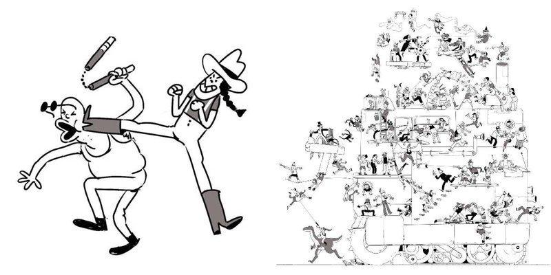 Художник каждый день добавляет в сцену драки одного персонажа (50фото)