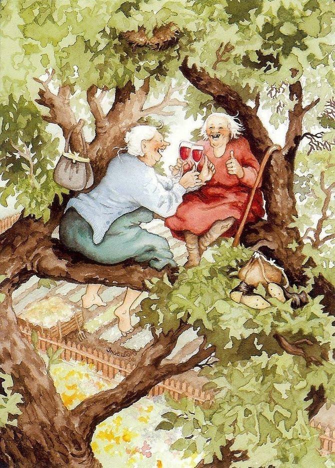 Серия открыток с неунывающими старушками (14фото)