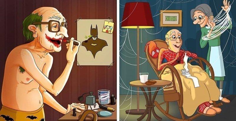 Художница изобразила супергероев, вышедших на пенсию (8фото)