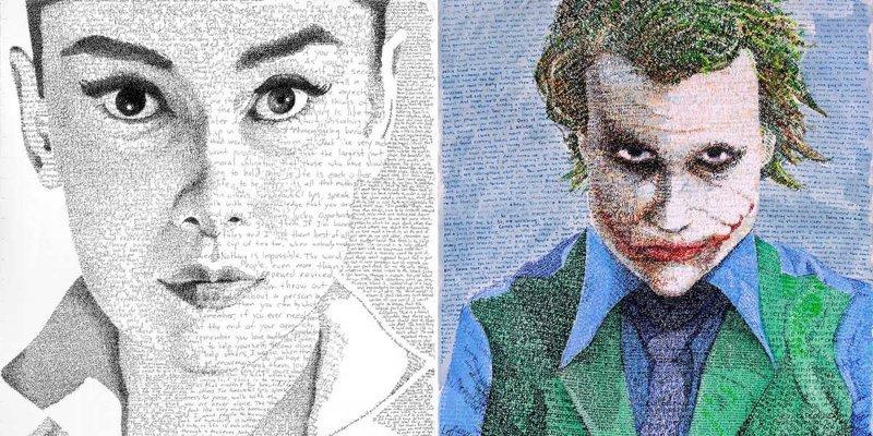 Художник тратит сотни часов на создание портретов из рукописного текста (10фото)