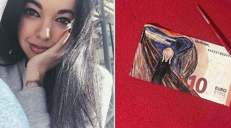 Художница воссоздает знаменитые картины, используя бумажные денежные купюры в качестве холста (16фото)