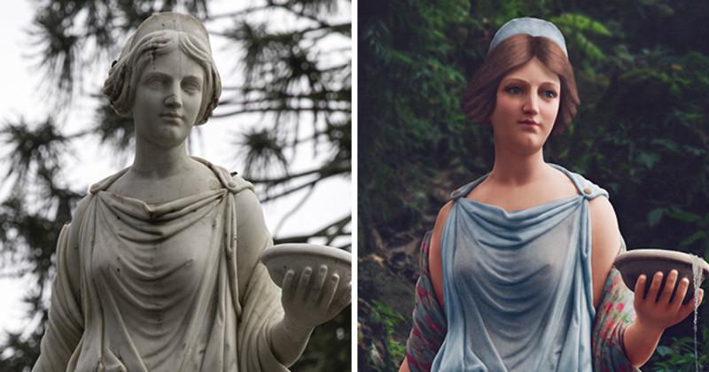 Художница раскрашивает статуи, чтобы вдохнуть в них жизнь (11фото)