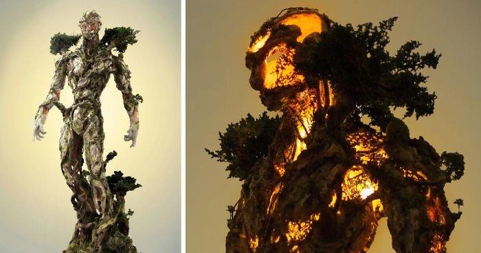 Древовидная фигура, состоящая из природных и технологических элементов от Гаррет Кейн (10фото)