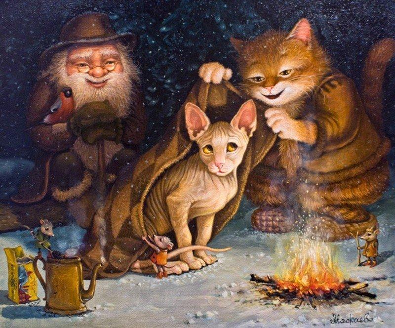 Добрые котосказки художника Александра Маскаева (60фото)