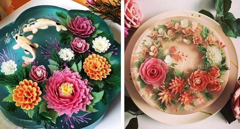 Художник-кондитер создает 3D-торты из желе, цветущие на тарелке (13фото)