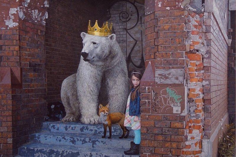 Гиперреалистичные картины Кевина Петерсона: дети и животные в городской среде (17фото)