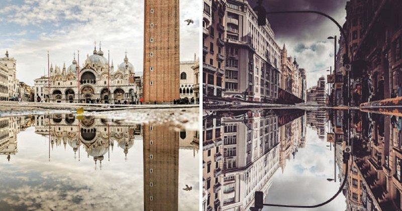 Испанский фотограф открывает параллельные миры, фотографируя отражения в лужах (25фото)