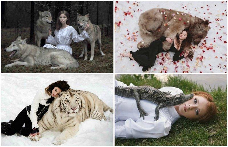 Сказочные портреты девушек с дикими животными в объективе Ольги Баранцевой (18фото)