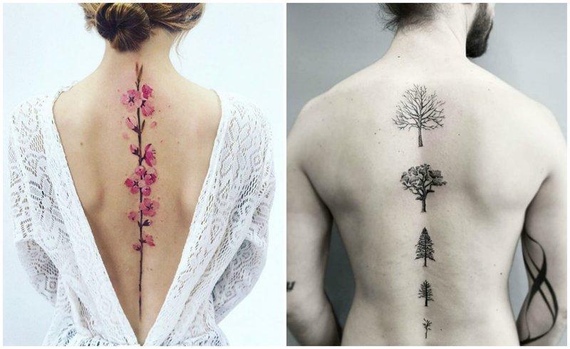 Тату на спине: подборка красивых татуировок вдоль позвоночника (50фото)