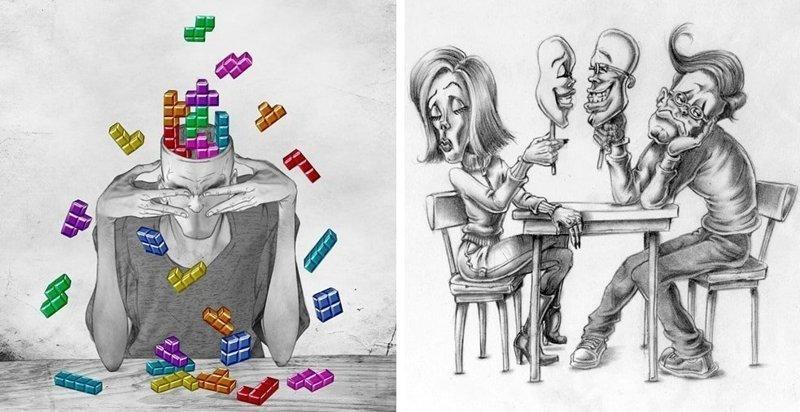 27 сатирических карикатур на современное общество, способных разбить любые розовые очки (28фото)