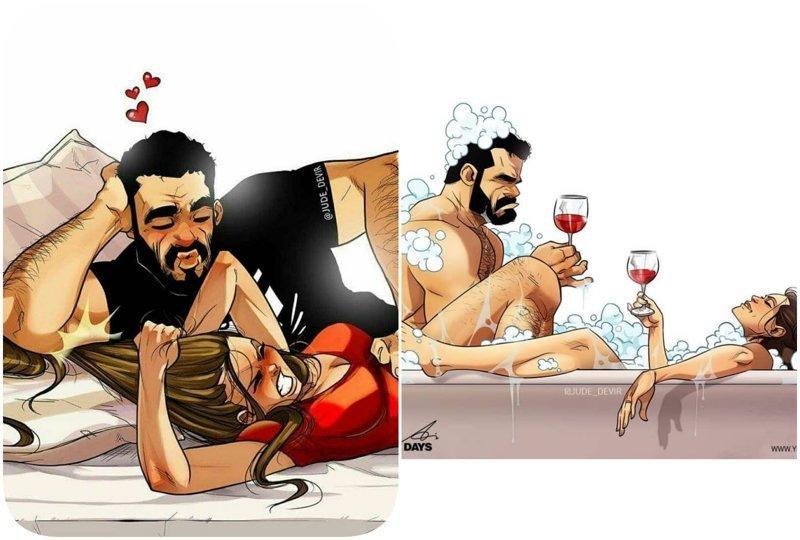 А вы видели эту парочку с картинок вживую? Секрет семейного счастья в новых откровенных комиксах (18фото)