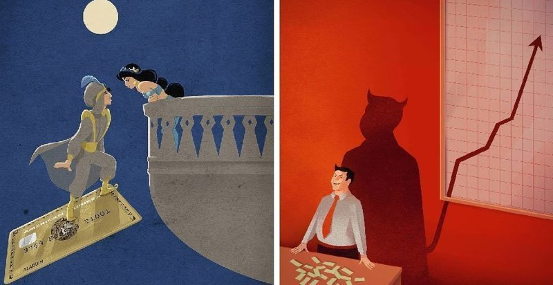 Этот художник показывает всю абсурдность современной жизни через свои яркие иллюстрации (23фото)