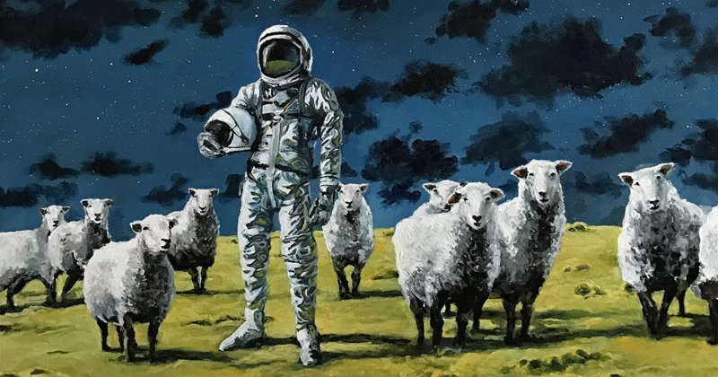 Астронавты на меланхоличных картинах Томаса Крана (8фото)