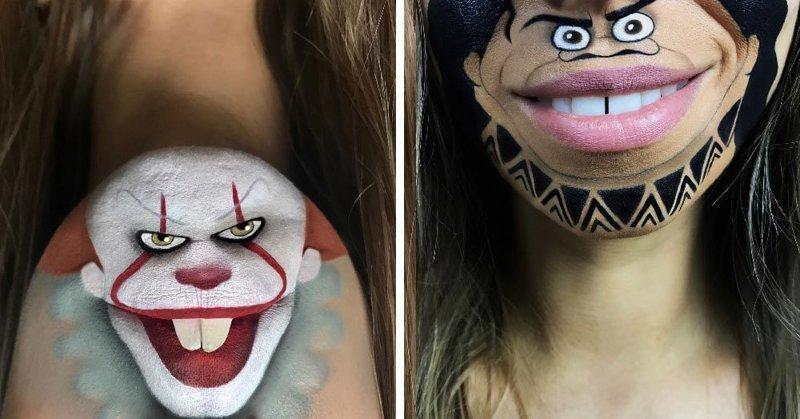Девушка с помощью макияжа превращает свои губы в мультяшных героев (36фото)