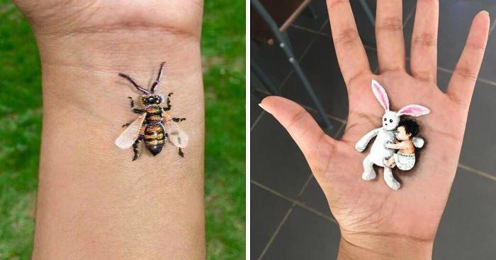 Девушка рисует 3D-картины на своей руке (9фото+1видео)