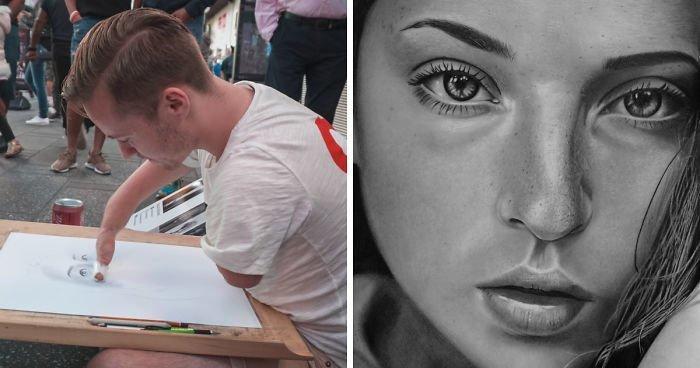 Он родился без рук, но несмотря на это, рисует портреты и скоро откроет свою выставку в Нью-Йорке (15фото+1видео)