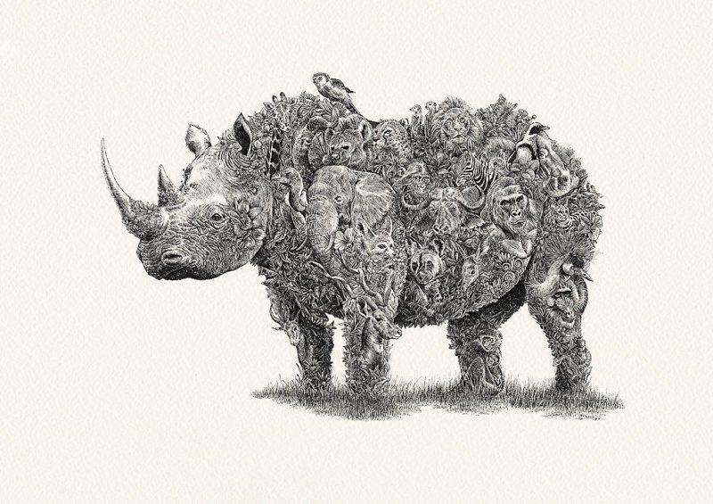 Замысловатые портреты животных в поддержку сохранения дикой природы (6фото)
