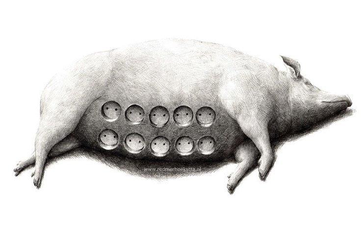 Работы нидерландского художника, который ловко переворачивает привычные вещи с ног на голову (20фото)