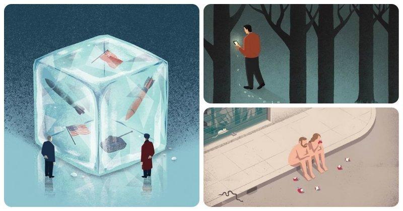 Остросоциальные иллюстрации Давиде Бонацци (24фото)