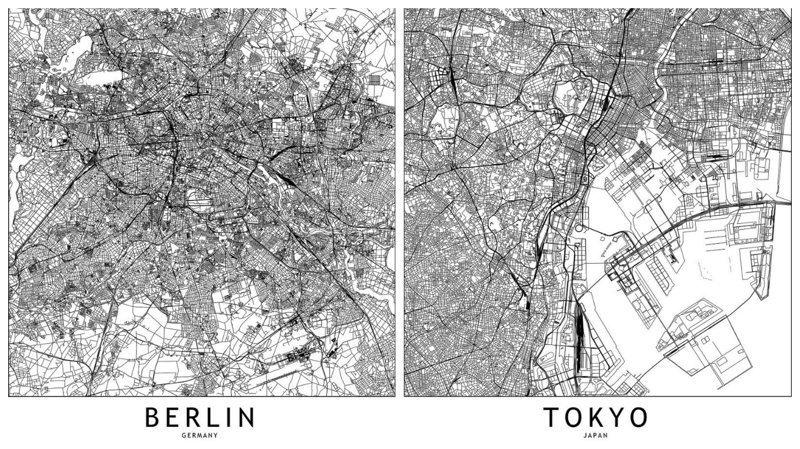 Контурные карты крупных городов мира (16фото)