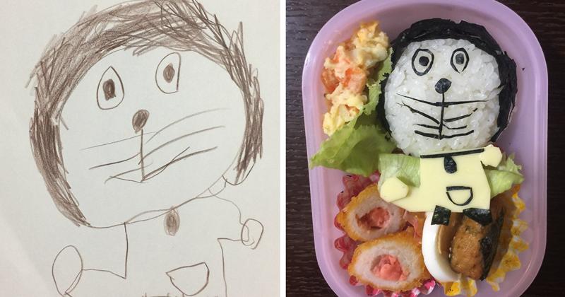 Японский папа превращает рисунки дочери в настоящие обеды (33фото)