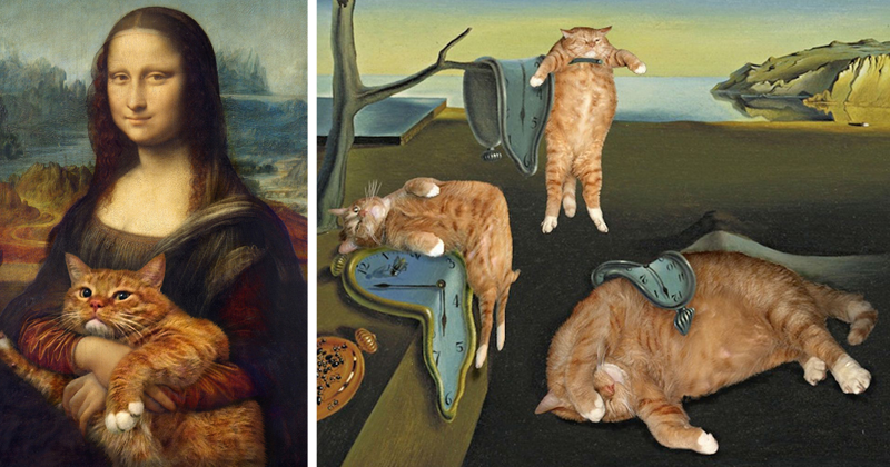 30 известных картин, где главной фигурой удачно вписался рыжий толстый кот (30фото)