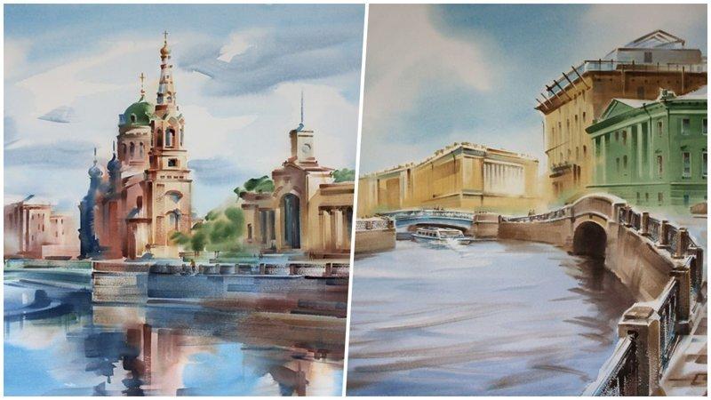 Акварельные пейзажи Петербурга от российского мастера Константина Куземы (21фото)