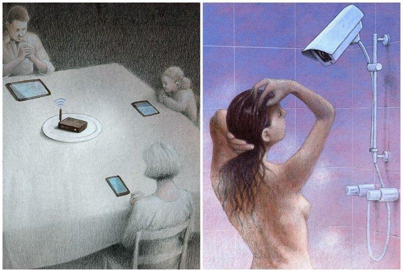 Сатирические рисунки о современной жизни, в которых гораздо больше печальной правды,чем хотелось бы (16фото)