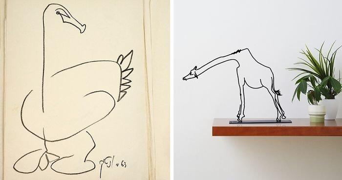 Минималистские скульптуры на основе рисунков из книги 50-летней давности (16фото)