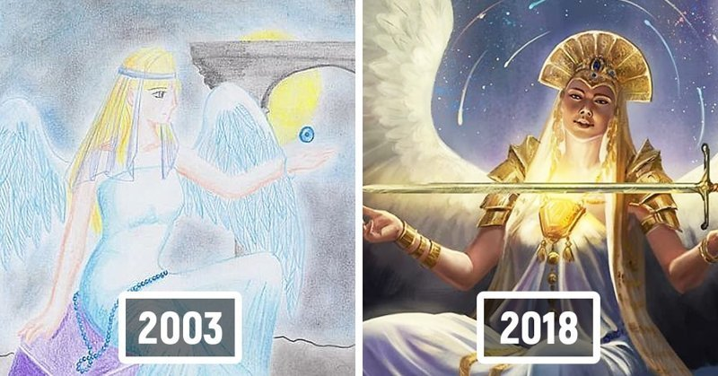 Художники запустили флешмоб: они перерисовывают свои старые работы. Разница очевидна! (31фото)