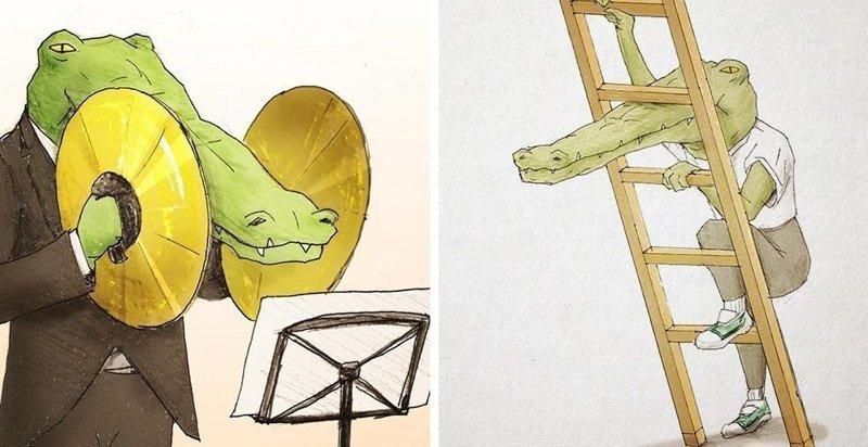 25 рисунков японского художника о буднях крокодилов, живущих среди людей (26фото)