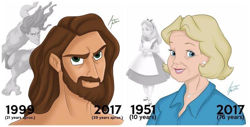 Сколько лет героям Диснея? Художник показал, как бы выглядели персонажи мультфильмов сегодня (17фото)