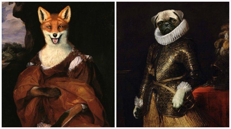 Художник вставляет животных и поп-персонажей в портреты аристократов (24фото)
