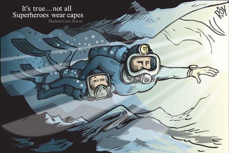 Как художники со всего мира изобразили спасение детей из пещеры в Таиланде (12фото)