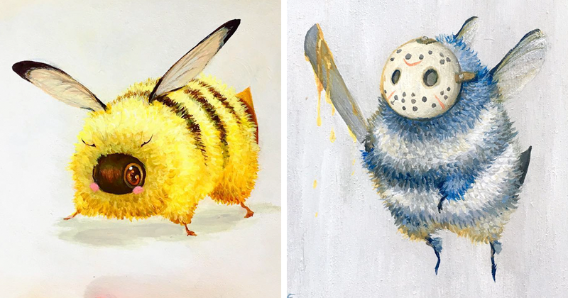 От Дэдпчела до Люка Пчелуокера: художница показала очаровательных героев пчелиной вселенной (21фото)