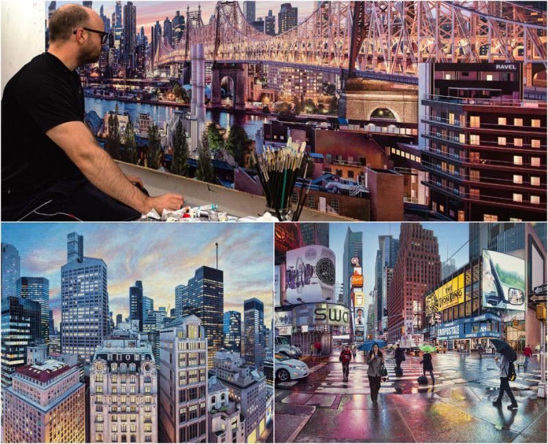 Британский художник пишет невероятные реалистичные трехметровые картины с улицами Нью-Йорка (18 фото)