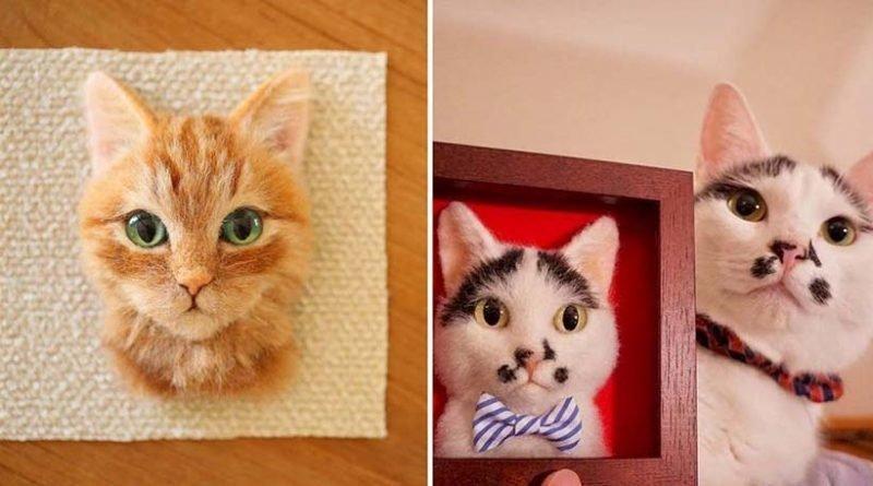 Художник из Японии делает из шерсти гиперреалистичные кошачьи портреты (22фото)