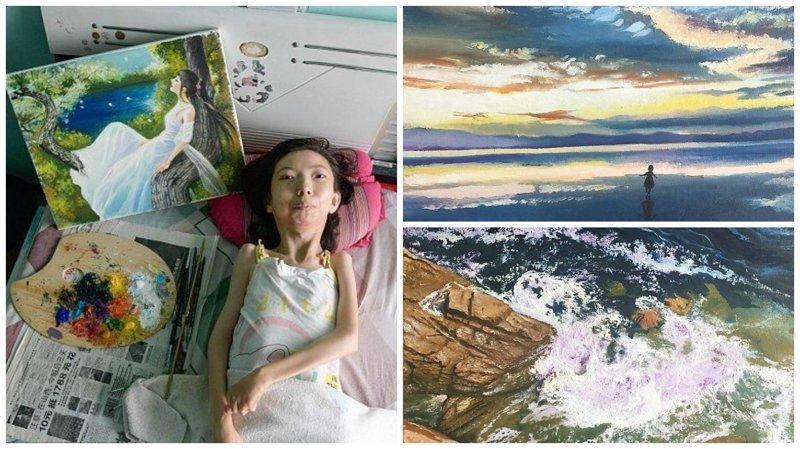 Парализованная китаянка нашла свое призвание в живописи (15фото)