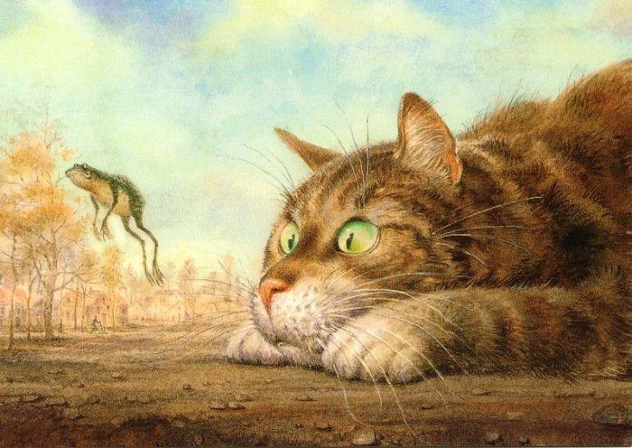 Питерские коты: акварельные мурлыки, которые принесли известность Владимиру Румянцеву (21фото)
