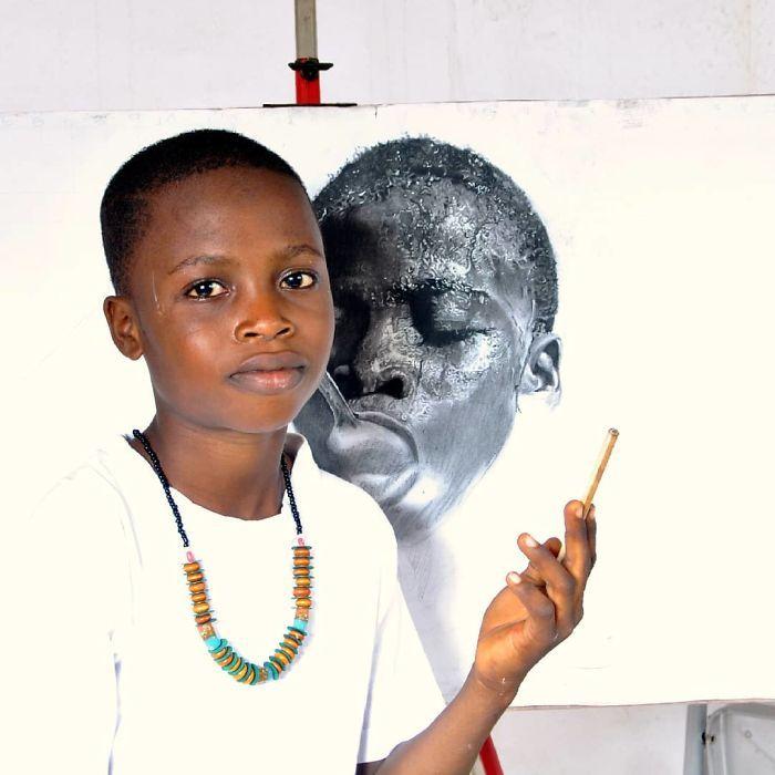 11-летний пацаненок удивляет мир своими гиперреалистичными картинами (17 фото)