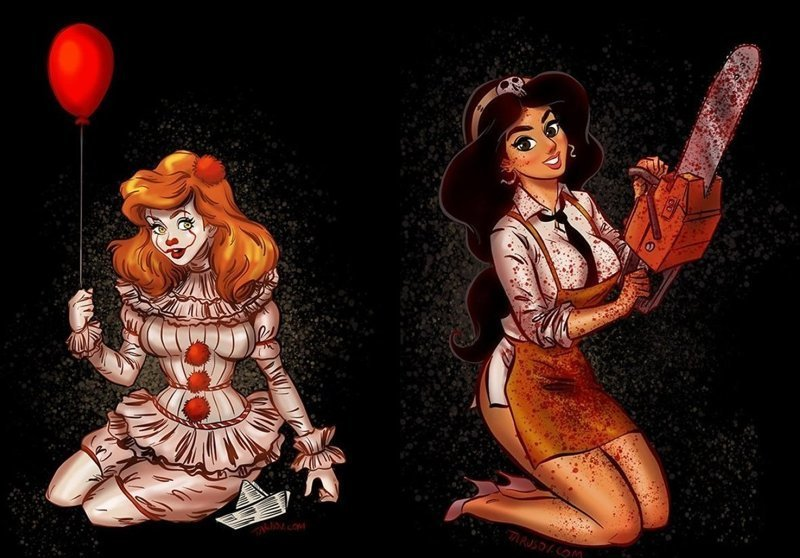 Как выглядели бы принцессы, будь они главными злодейками известных фильмов ужасов (13фото)