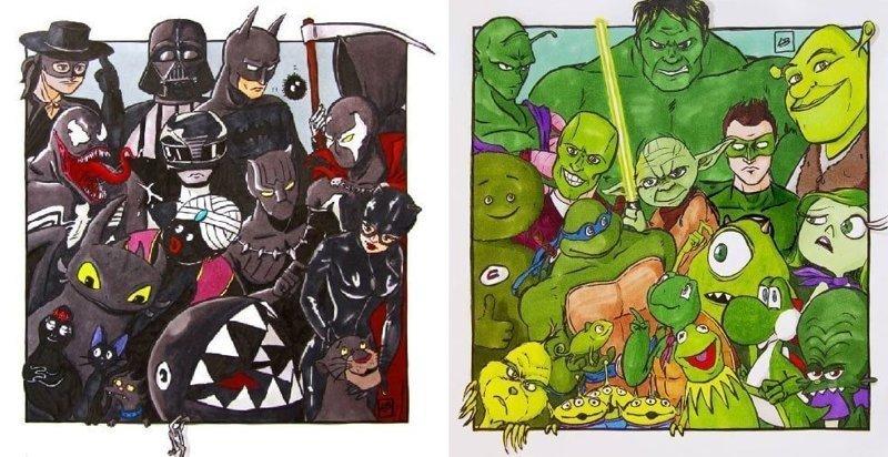 Художница из Франции сгруппировала известных мультперсонажей по цветам (10фото)