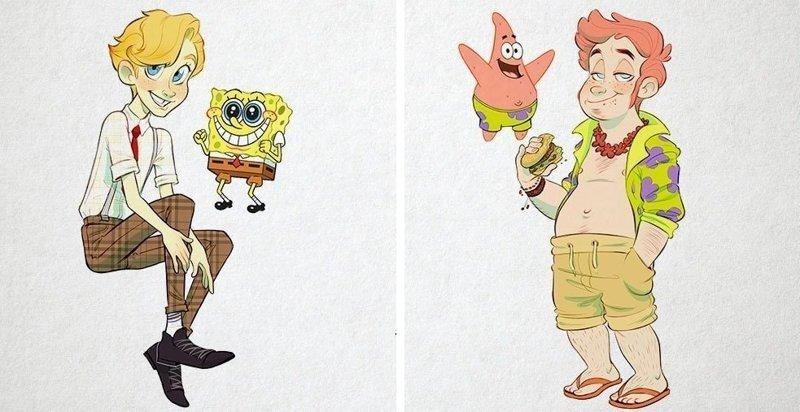 Художница представила, как выглядели бы герои мультфильма про Губку Боба, будь они людьми (8фото)