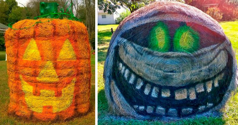 Художница делает скульптуры из сена для праздника монстров (13фото)