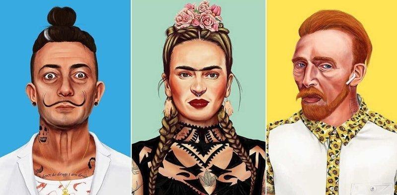 Ван Гог, Пикассо и другие художники в образе хипстеров (21фото)