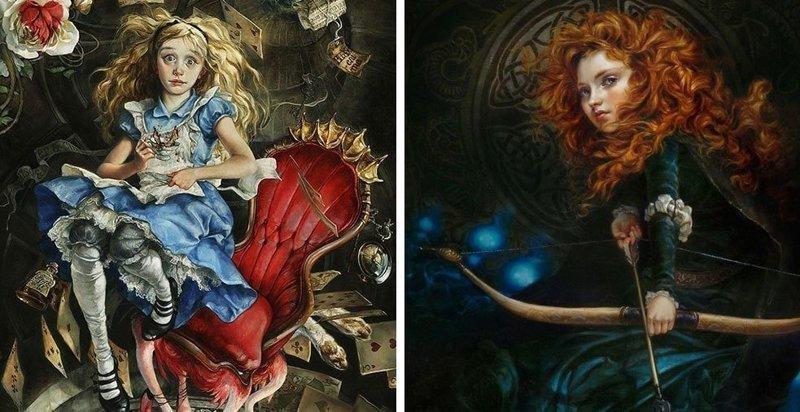 Художница представила, как выглядели бы персонажи Диснея, если бы их рисовали несколько веков назад (14фото)