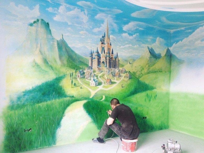 Роспись стен в детской (4фото)